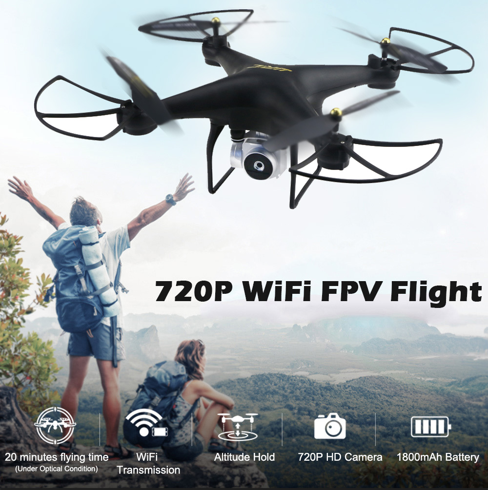 JJRC H68 720P WiFi FPV RC Drone 20mins Flight / Headless Mode / 3D Flip / Adjustable Camera- Black
