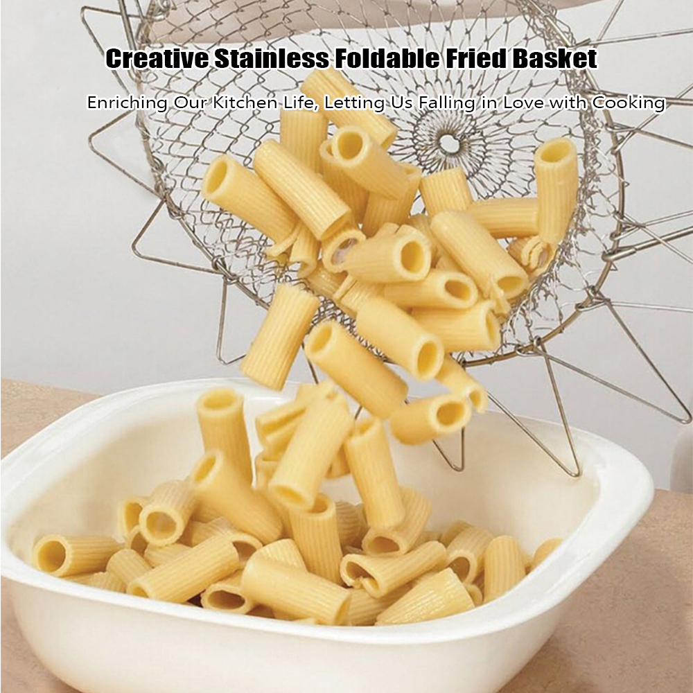 Creative Stainless Foldable Fried Basket for Kitchen- Silver