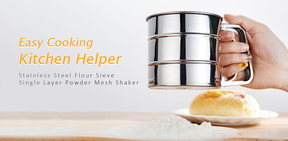Stainless Steel Flour Sieve Single Layer Powder Mesh Shaker - Platinum