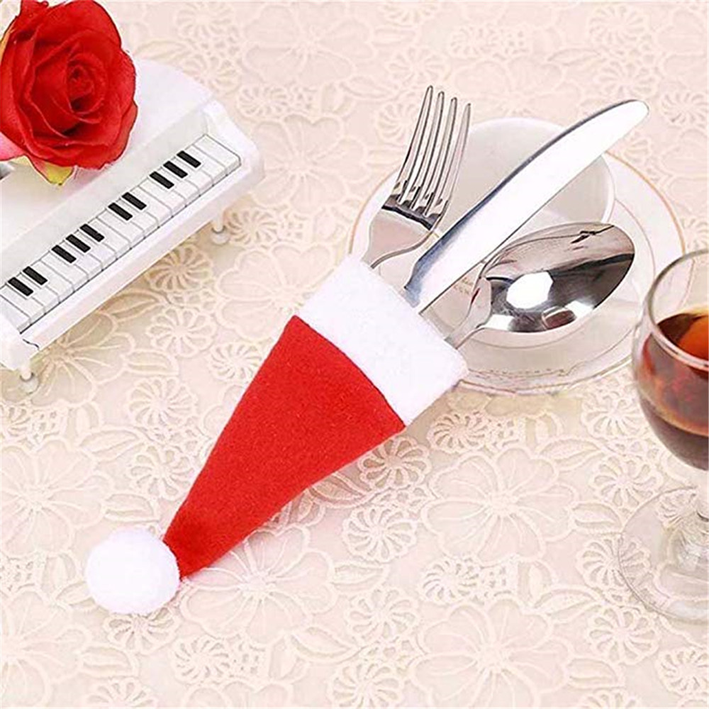 christmas silverware holder mini santa claus hat decorations red jpg 1000x1000 cloth silverware holder - Christmas Silverware Holders