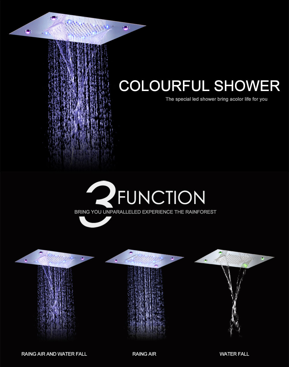 Hpbge LED Colorful Rain and Waterfall 304 Stainless Steel  Shower Head- Silver