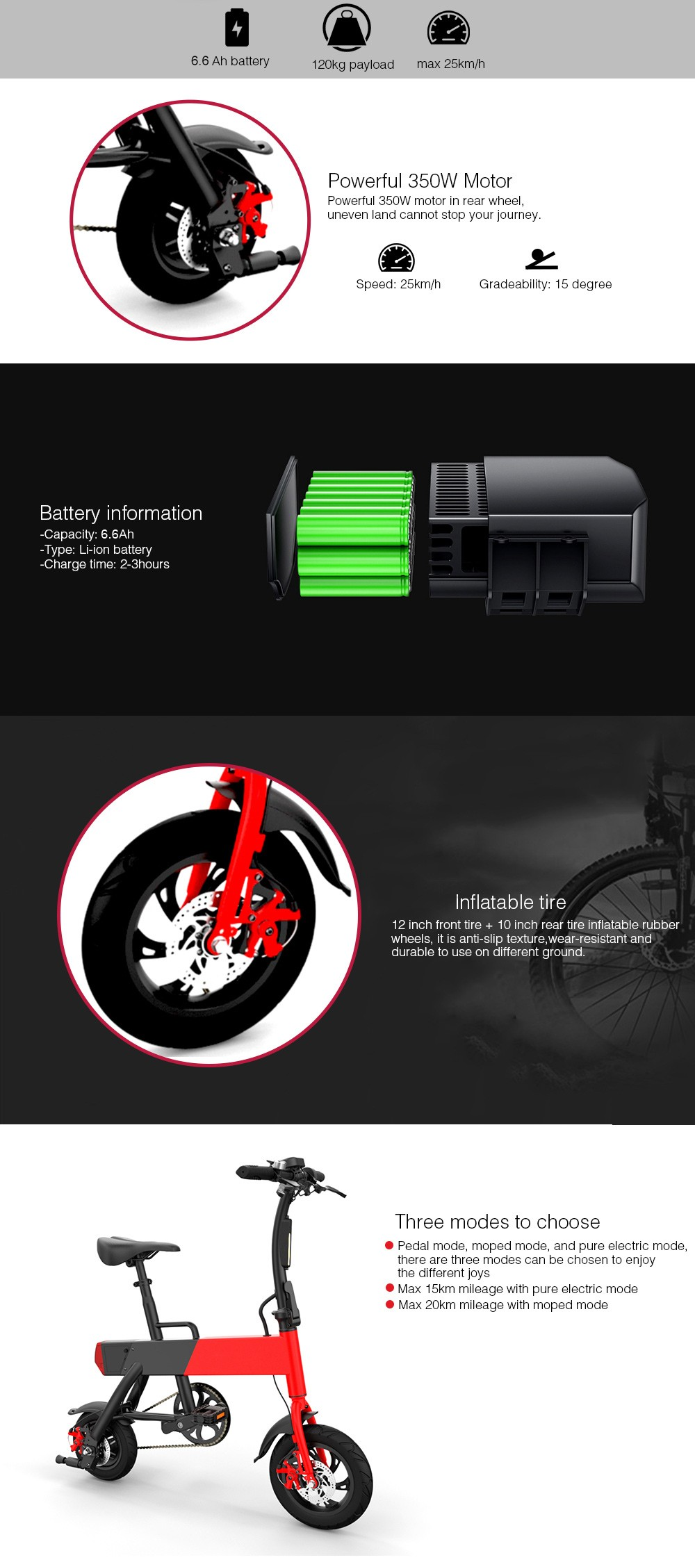 DoubleHunter P12 + Smart Folding Bike Electric Moped Bicycle 6.6Ah Battery / with Double Disc Brake- Red US