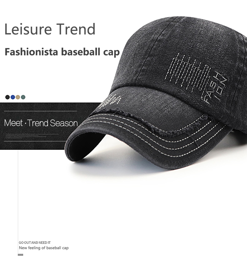 Cowboy Washed Embroidered Letters Sunscreen Cotton Outdoor Baseball Cap-  Black a90af2ef7