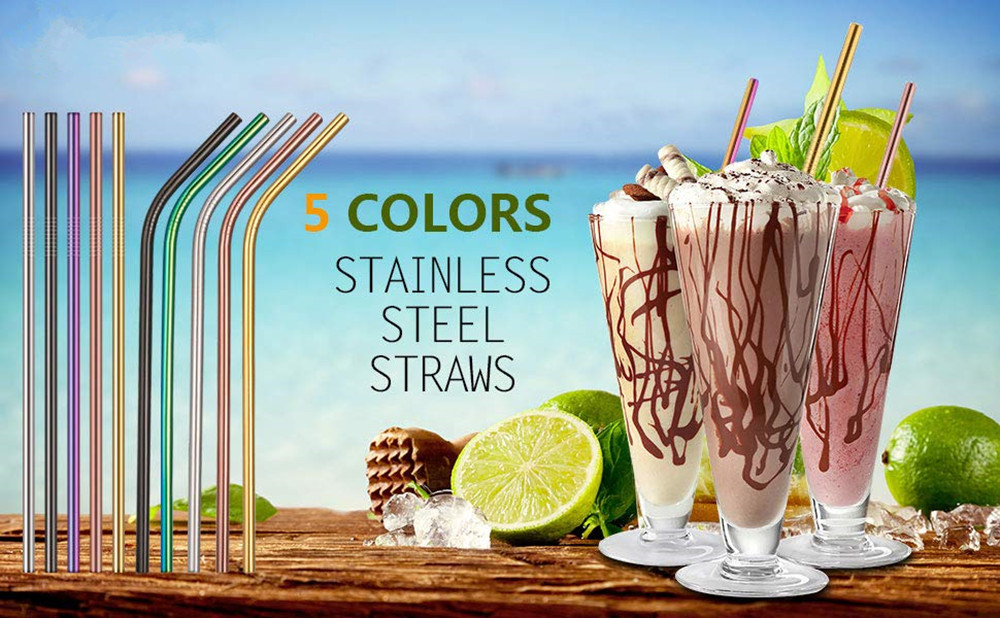 10pcs Stainless Steel Drinking Straws Multicolor Reusable- Multi