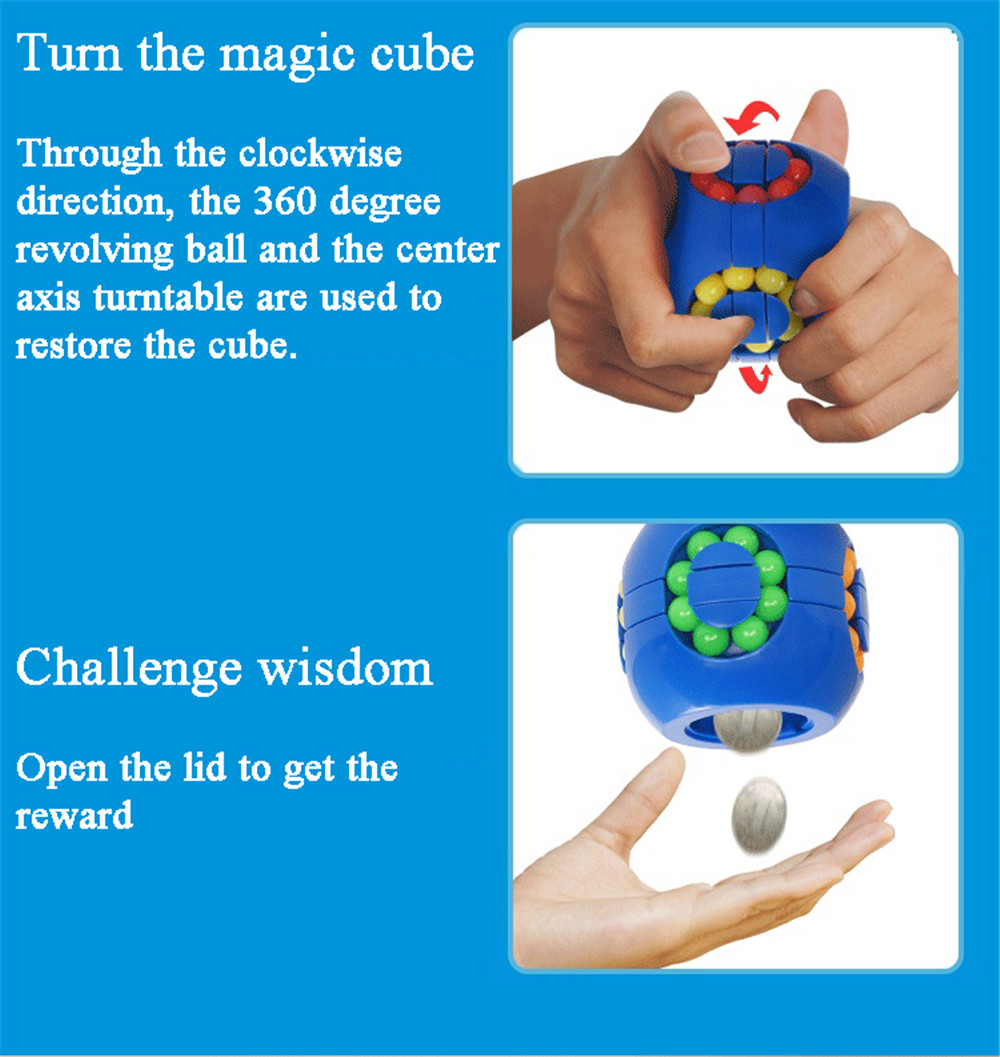 Creativo Hamburger Magic Cube Piggy Bank bambino giocattolo educativo- Blue
