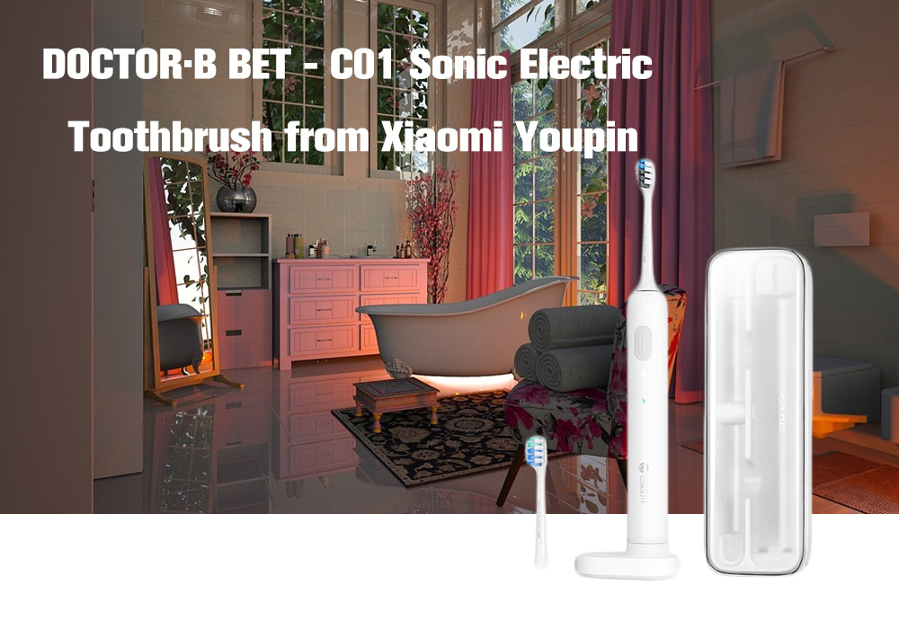 DR.BEI BET-C01 Sonic Electric Super Light Toothbrush International Edition from Xiaomi Youpin- White International Edition