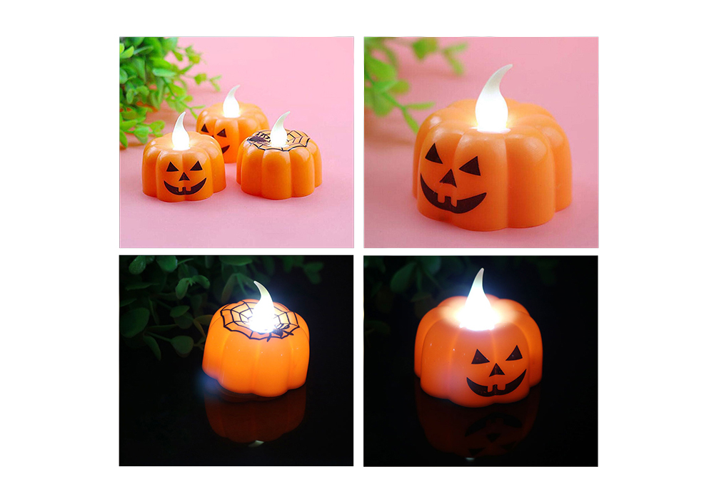 BRELONG LED Pumpkin Candle Night Light for Halloween Bar Party Decoration- Orange Simple Pumpkin Style