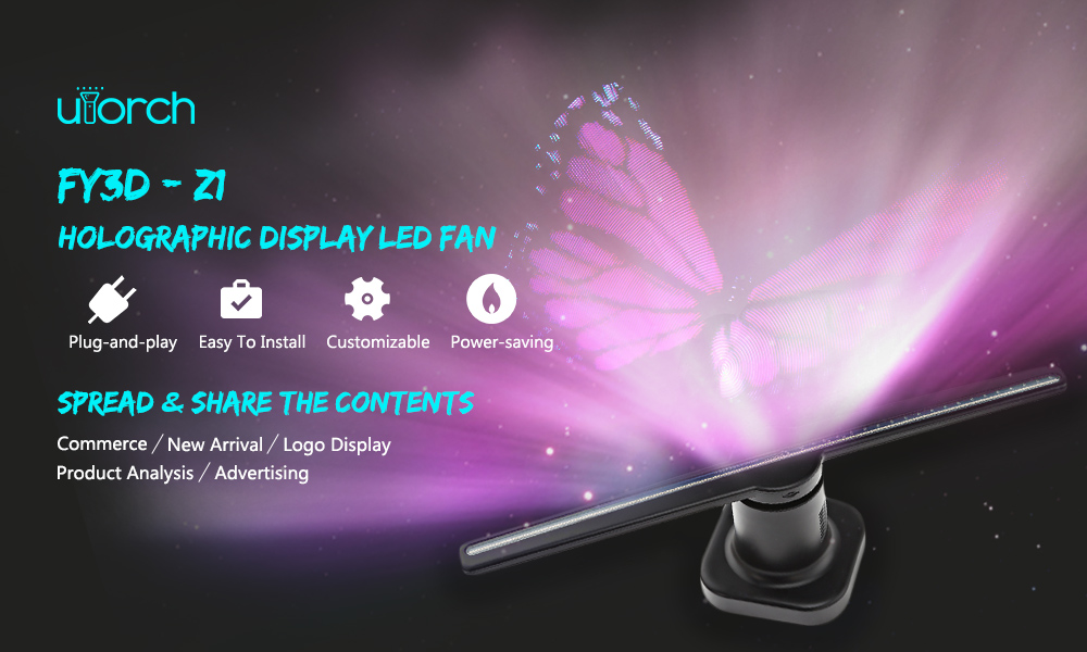Utorch Z1 Holographic Display LED Fan Advertising Machine Creates Illusion of 3D Hologram Graphic AC 100 - 240V- Black EU Plug