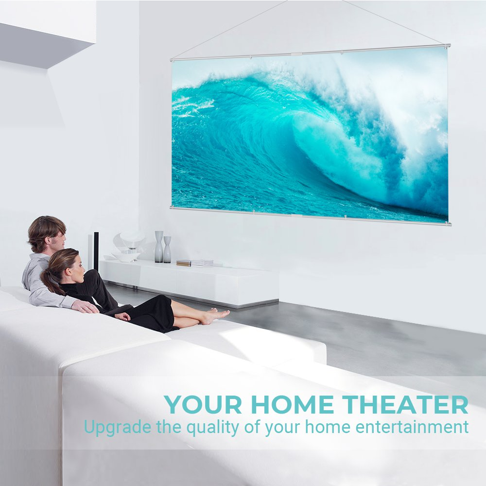 Houzetek 100inch Hanging Projector Screen- White 100 inch