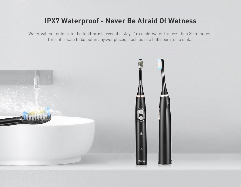 Alfawise BH - 126 Sonic Electric Toothbrush Smart Timer 5 Brushing Modes with 2 Brush Heads- Black
