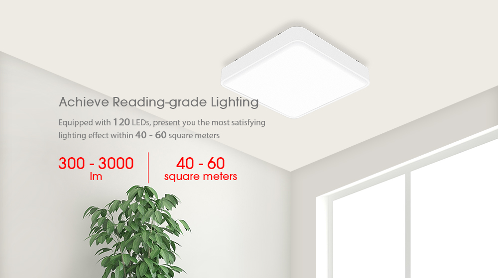 Yeelight Smart Simple Square LED Ceiling Light for Bedroom Living Room 2700 - 6500K Voice / APP / Remote Control- White