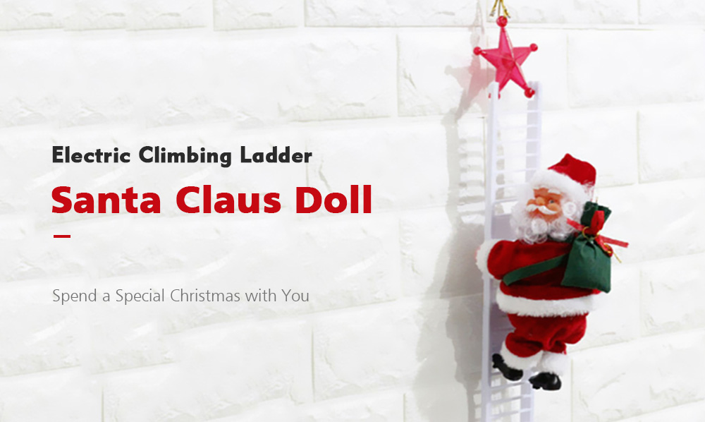 Creative Electric Climbing Ladder Santa Claus Doll Toy - Red