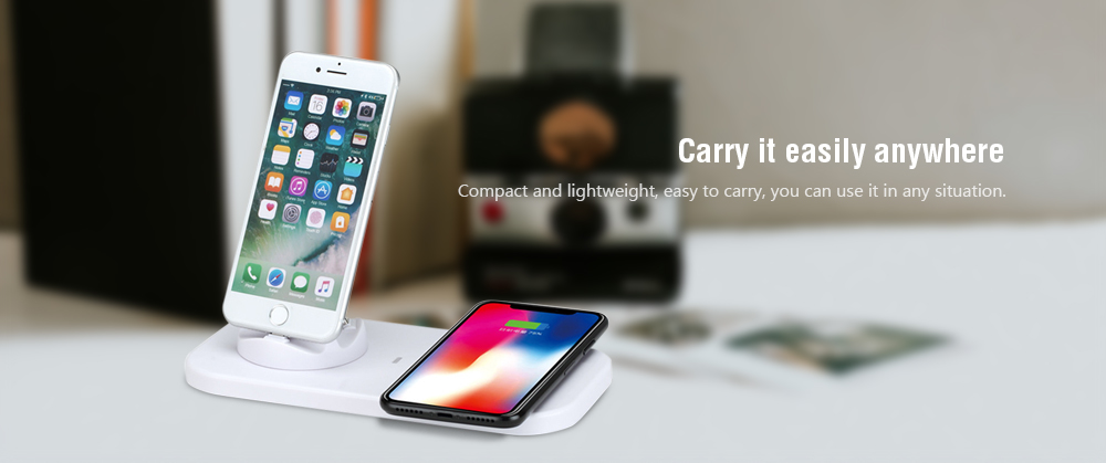 Gocomma 8 Pin / Type-C / Micro USB 3 in 1 Fast Charger with Wireless Charging Funtion- White