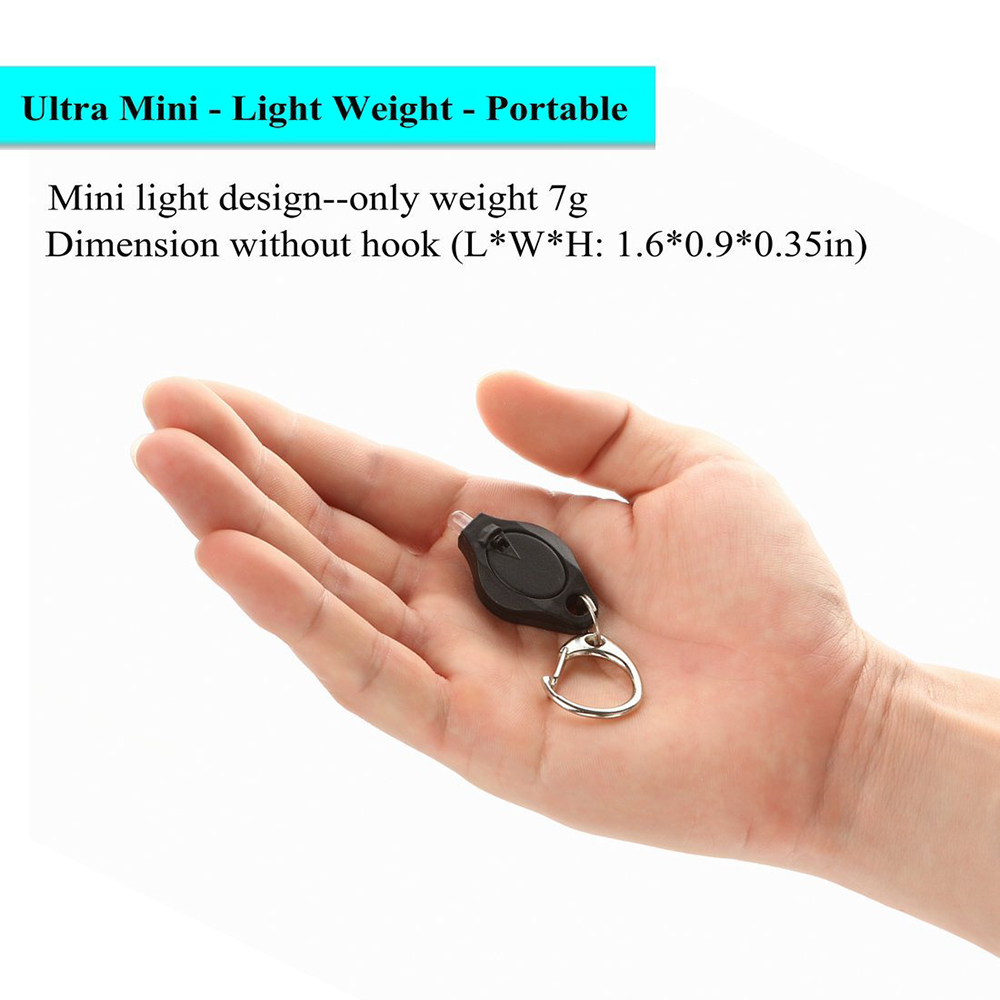 Mini Ultra Bright LED Portachiavi Torcia C Anello gancio Torcia luminosa 4-Pack- Black