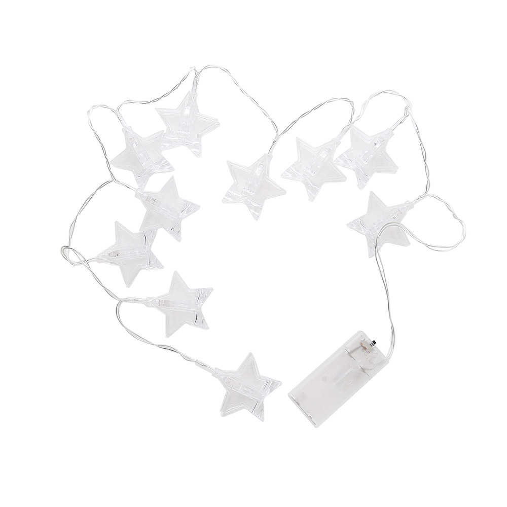 Lanterna a Led con clip a forma di stella- White 1.5 m battery box star clip  white effect