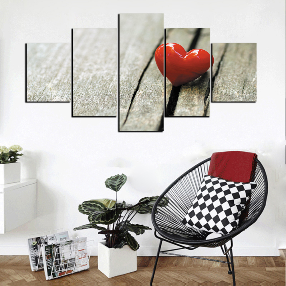 5 Pcs HD Inkjet Paints Valentine's Day Theme Love Decorative Painting- Multi 1pc x 16 x 39,2pcs x 16 x 24,2pcs x 16 x 31 inch( No Frame )