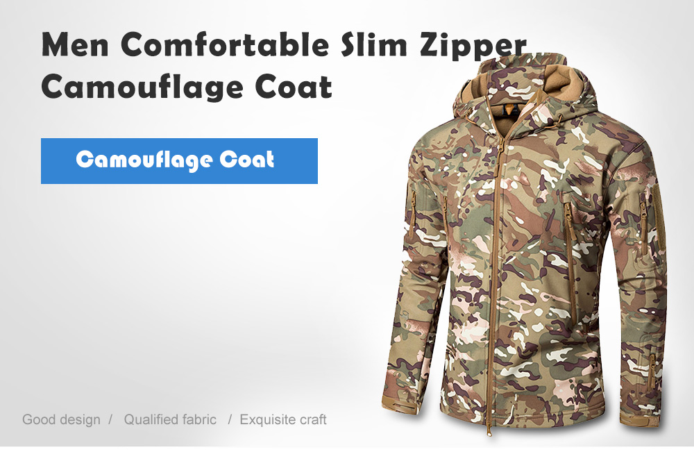 Men Camouflage Coat Comfortable Slim Zipper- Multi-A M