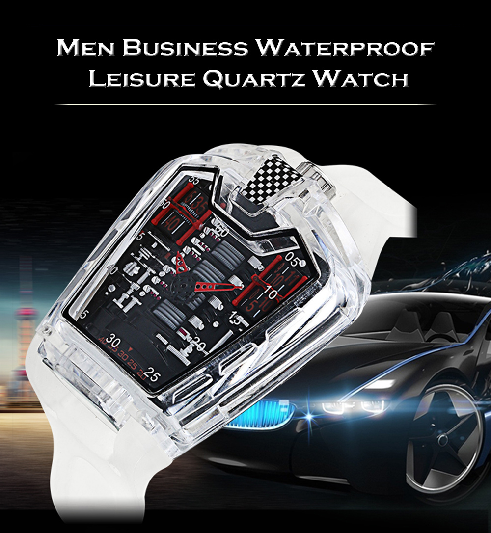 KIMSDUN K - 725D Men Transparent Waterproof Quartz Watch- Multi-A White band Red letter