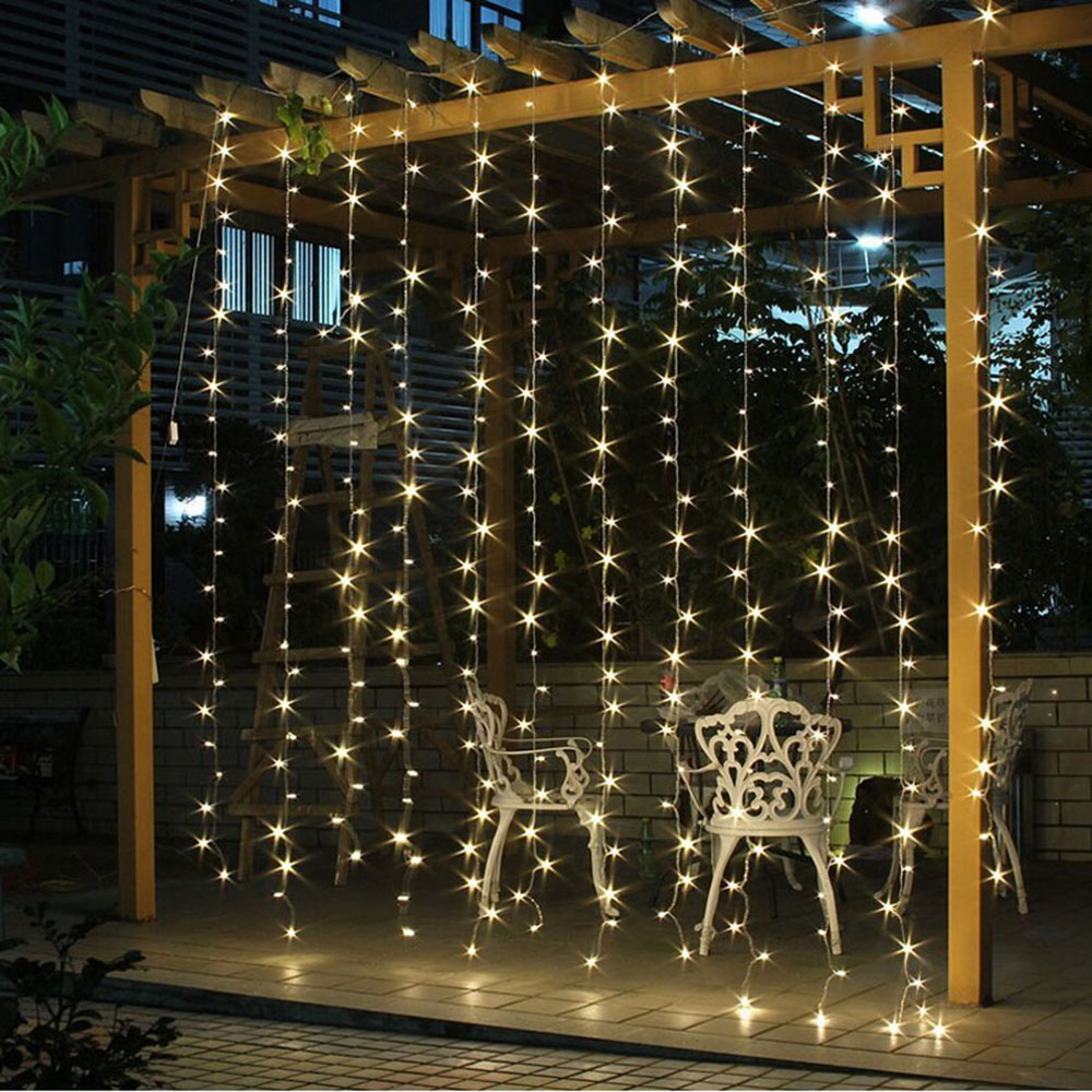 Starlight Led Outdoor String Lights 300 Icicles Christmas Warm White Us Plug 2