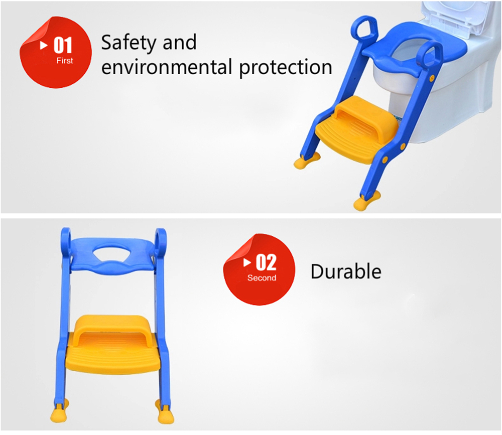 Children Potty Baby Seat With Adjustable Ladder Infant Toilet Training Folding- Ocean Blue