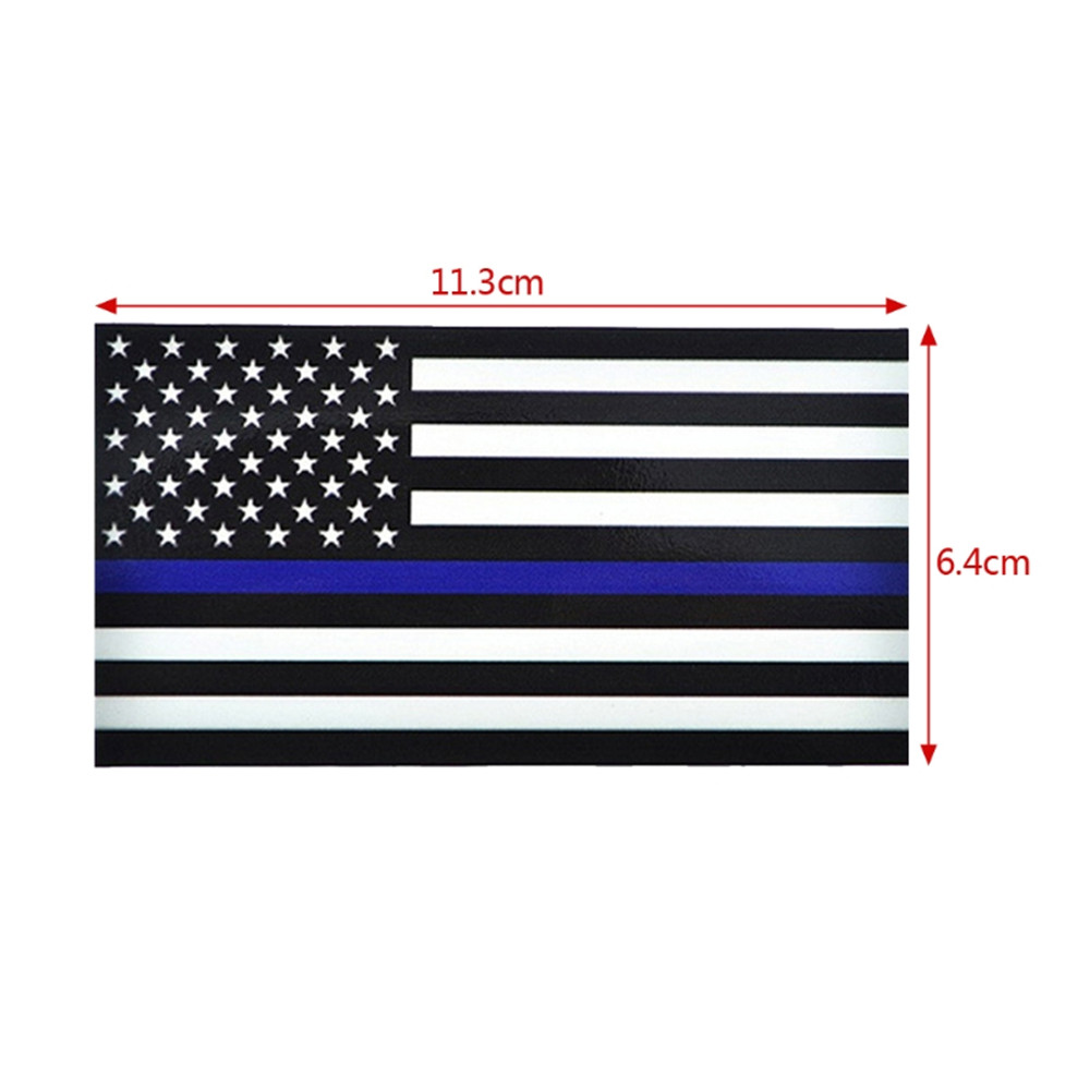 Set of 2 American Flag Police Officer Cop Thin Blue Line Decals Car 2 Color