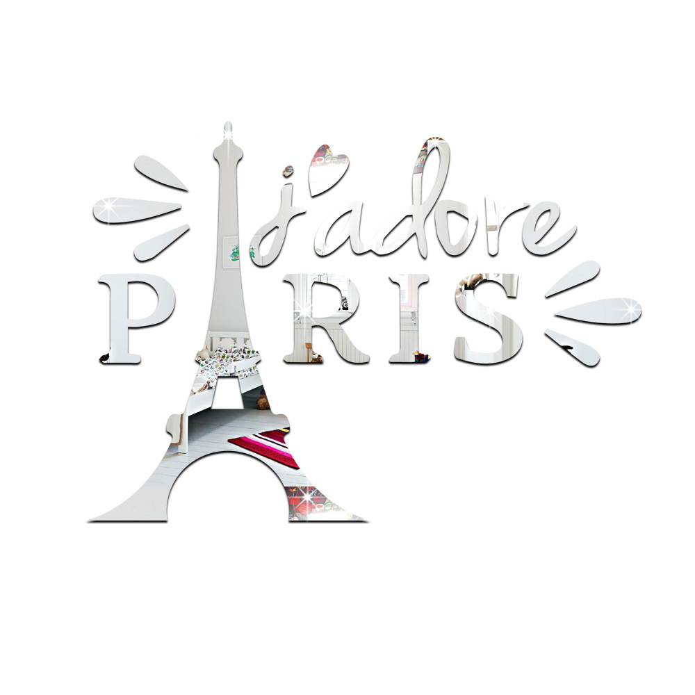 18 Pieces Mirror Wall of The Eiffel Tower Living Room Background Wall Decoration- Gold 52*38*0.3cm