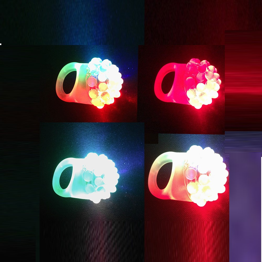 5 Pieces Novelty Flashing LED Bumpy Rings Random Color- Multi-A