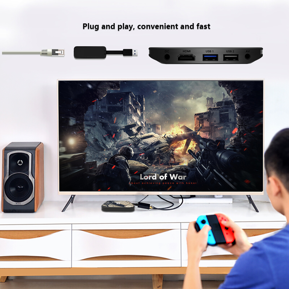 A95X PLUS TV Box 4GB Amlogic S905 Y2 / Android 8.1 / 4GB DDR4 + 32GB ROM / 2.4G + 5G WiFi / USB3.0 / BT4.2 / Support 4K H.265- Black EU Plug
