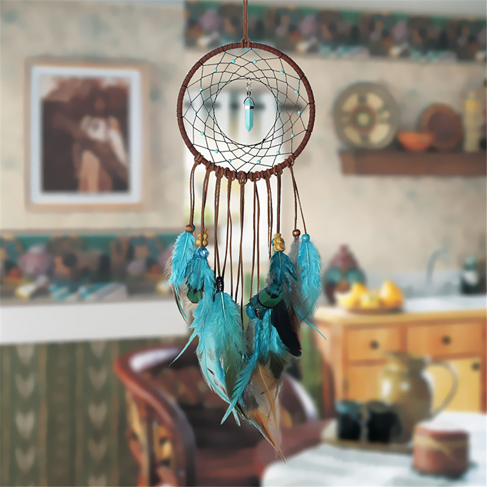 Handmade Dream Catcher With Feathers Wall Hanging Decoration Ornament Gift- Macaw Blue Green