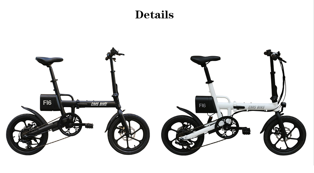 CityMantiS CMS - F16 Outdoor 7.8Ah Battery Smart Folding Electric Bike Moped Bicycle- Black