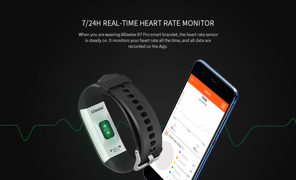 Alfawise B7 Pro Smart Bracelet Heart Rate Sleep Monitor Step Counting Function- Black