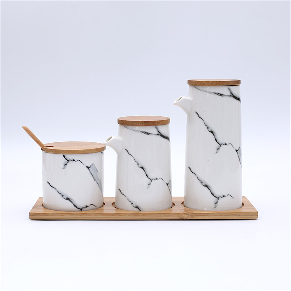 Seasoning Boxes Jars Set Marble Grain CeramiOil Bottles With Wooden Tray- Multi-A