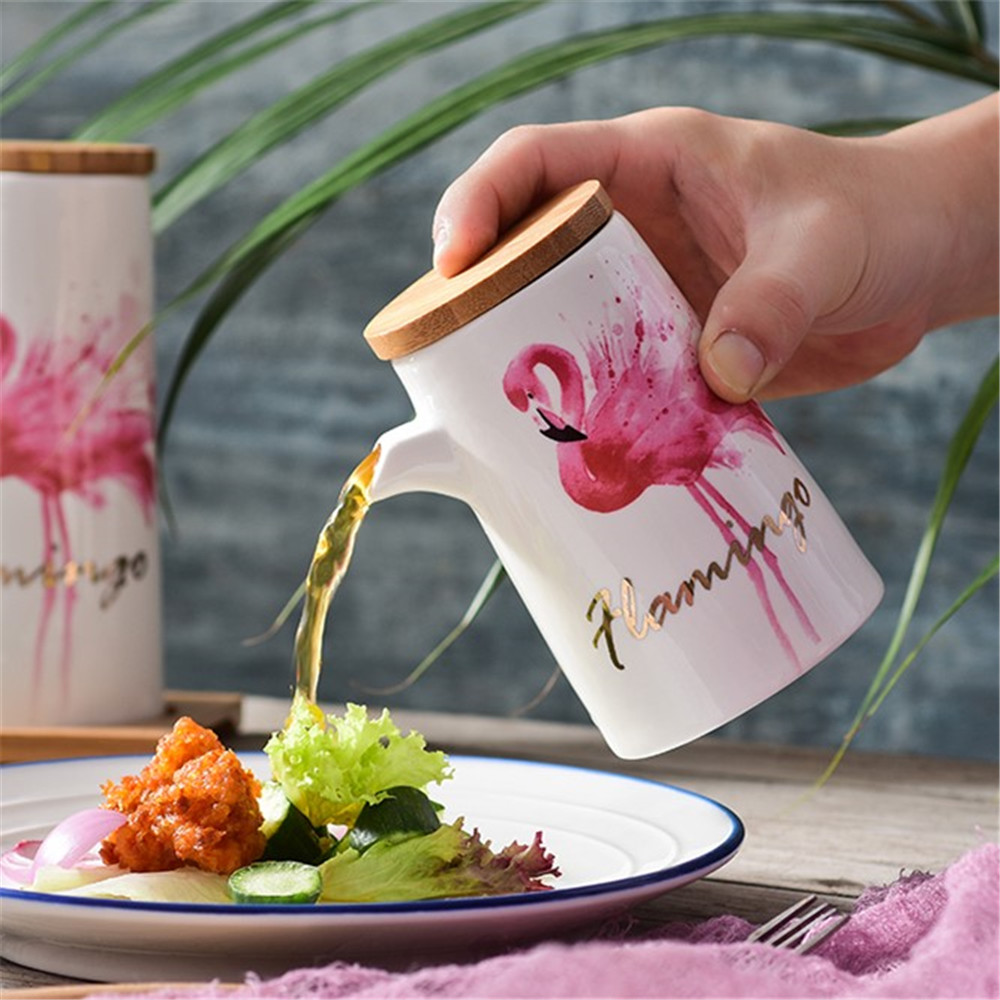Modern Style Flamingo Patte Oil Bottles With Wooden Tray- Multi-A