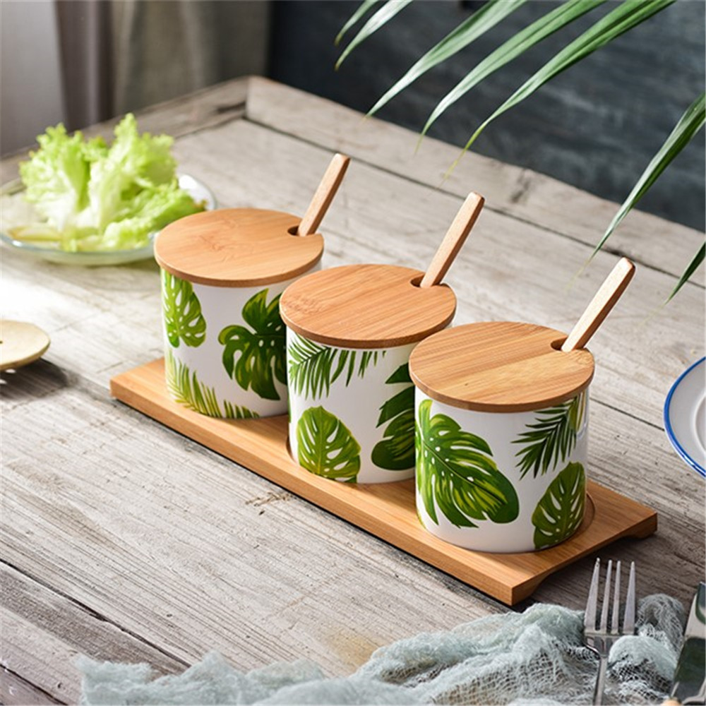 Ceramic Seasoning Jars Set Nordic Style Leaf Pattern Condiment Containers - Multi-A
