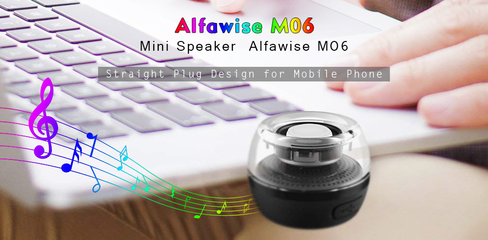 Alfawise M06 ABS Straight Plug Design Mobile Phone Mini Speaker- Black