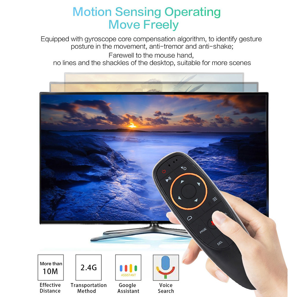 G10 Portable 2.4GHz Wireless Smart Voice Remote per Android TV Box PC portatile- Black