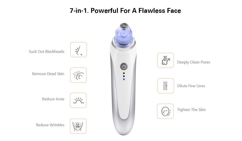 Alfawise Rechargeable Electric Blackhead Suction Remover Machine Pore Cleaner Beauty Tool- Silver