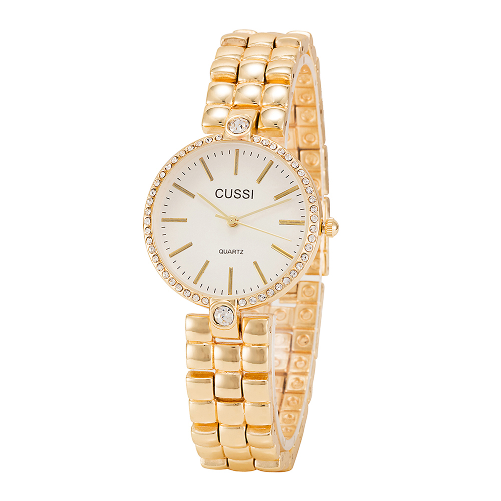 CUSSI/Cs015/Ultra Thin Watch Dial Smart Watch Ladies' Quartz Watch Gold/Silver- Golden brown