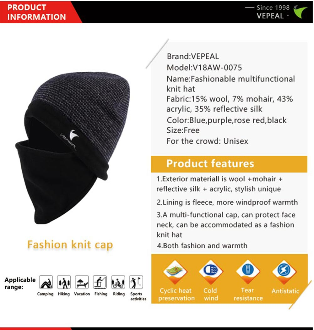 1bf397f5 VEPEAL Winter Unisex Wool Mohair Knit Hat Bib Face Protection Ski Hat-  Cornflower Blue