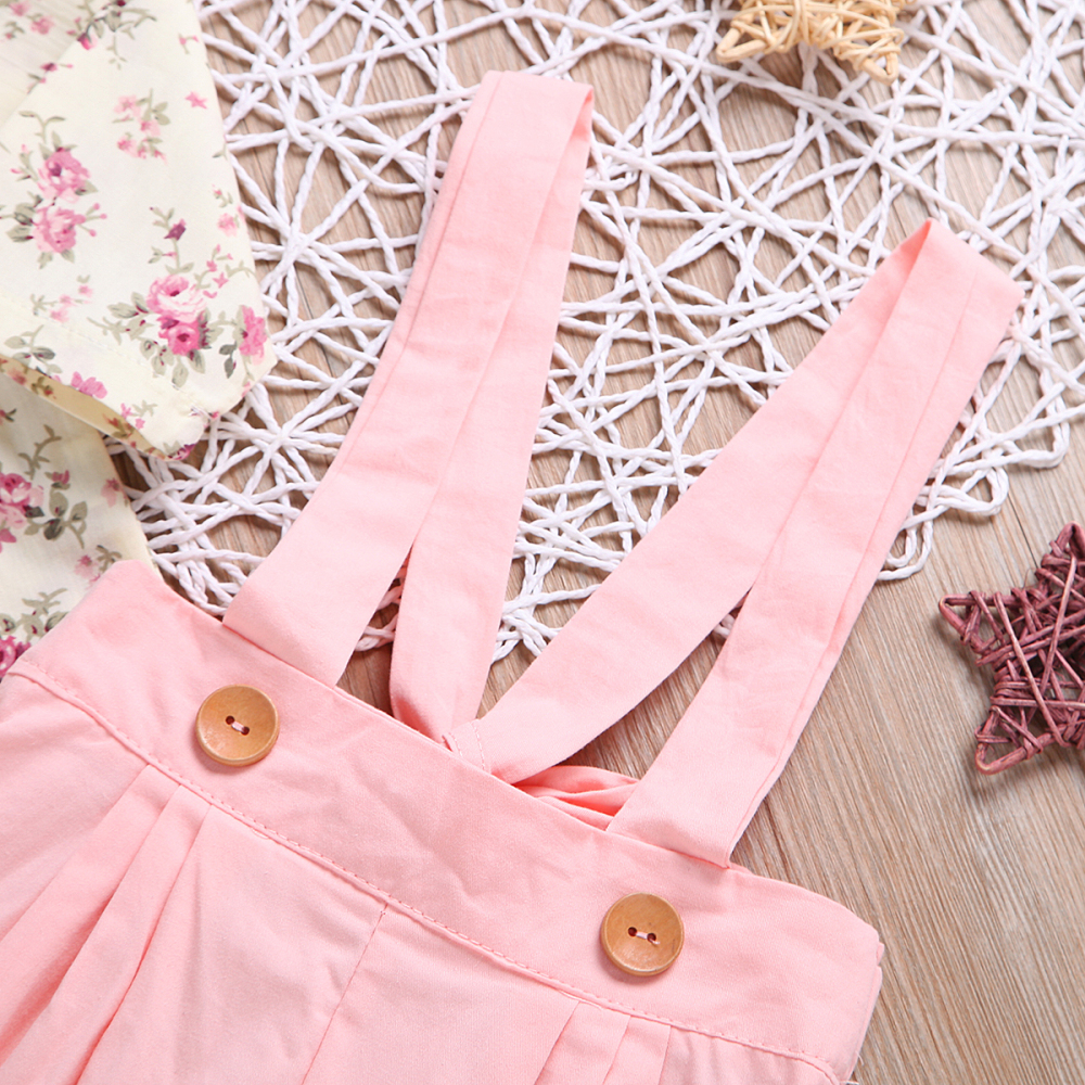69fa3f154a9a7 Children'S Wear High Quality Girl'S Cherry Blossom Shirt + Suspenders A  Trousers- ...