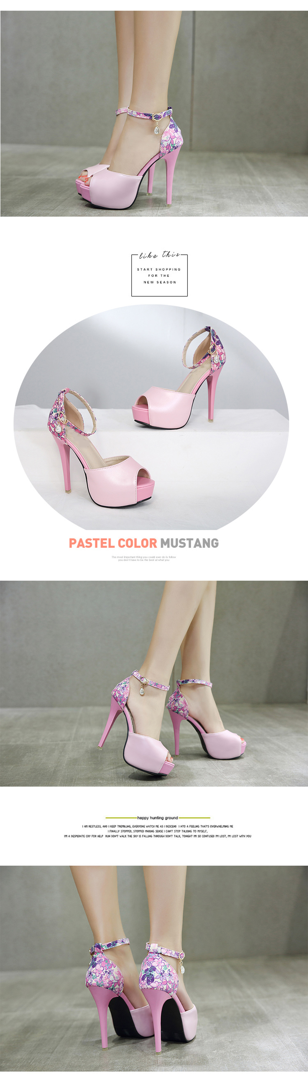 Womens Peep Toe Platform Shoes Sweet Party Sandals With Flowers