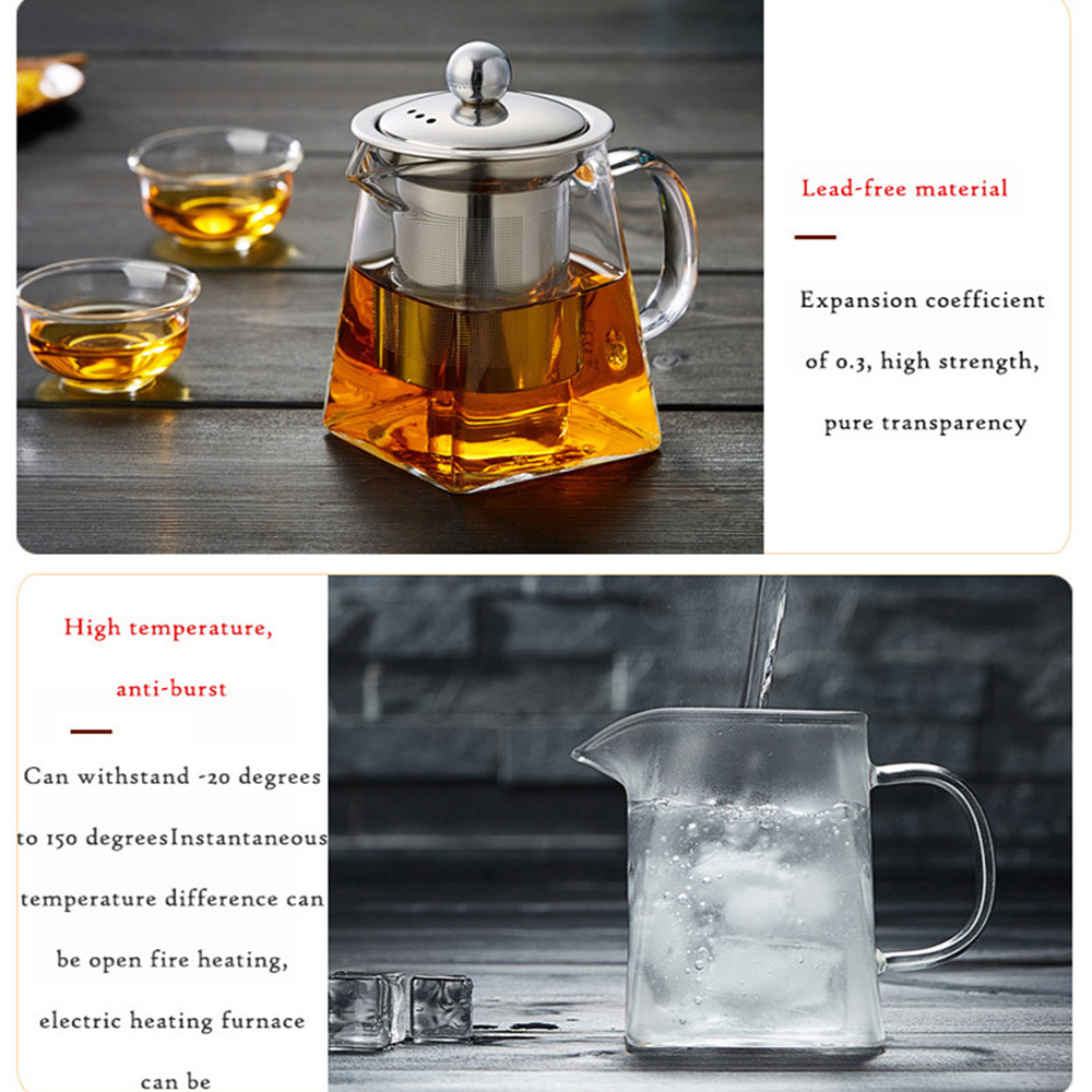 Borosilicate Glass Water Bottle Large Capacity Filtration Teapot- Transparent