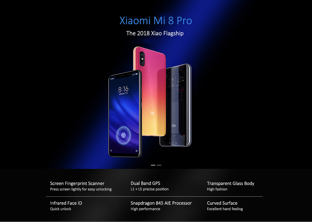 Xiaomi Mi 8 Pro 4G Phablet 6.21 inch Android 8.1 Qualcomm Snapdragon 845 Octa Core 2.8GHz 6GB RAM 128GB ROM 20.0MP Front Camera Screen Fingerprint Sensor 3000mAh / 2900mAh ( min ) Built-in Screen Fingerprint Sensor Version- Black