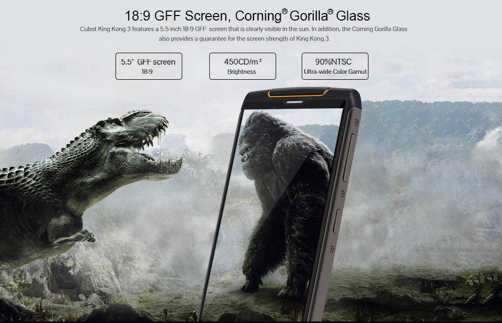 CUBOT King Kong 3 4G Phablet 5.5 inch Android 8.1 MTK6763T Octa Core 2.5GHz 4GB RAM 64GB ROM 6000mAh Battery IP68 Waterproof - Black