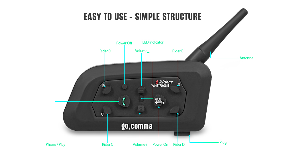 gocomma V6 Motorcycle Helmet Bluetooth Intercom Headset- Black 1pc