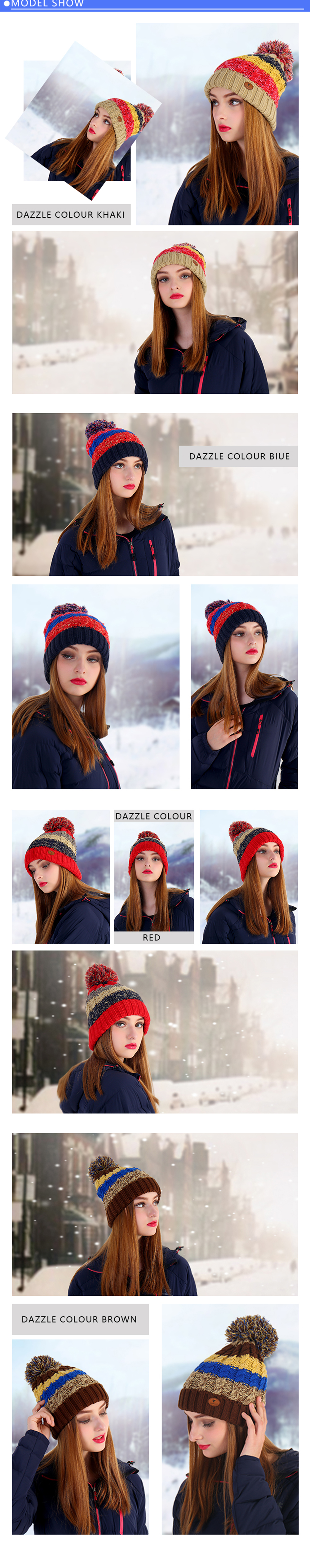 fa07d1d2faf VEPEAL Winter Women S Outdoor Keep Warm Fur Ball Color Matching Knitted Hat-  Dark Slate Blue