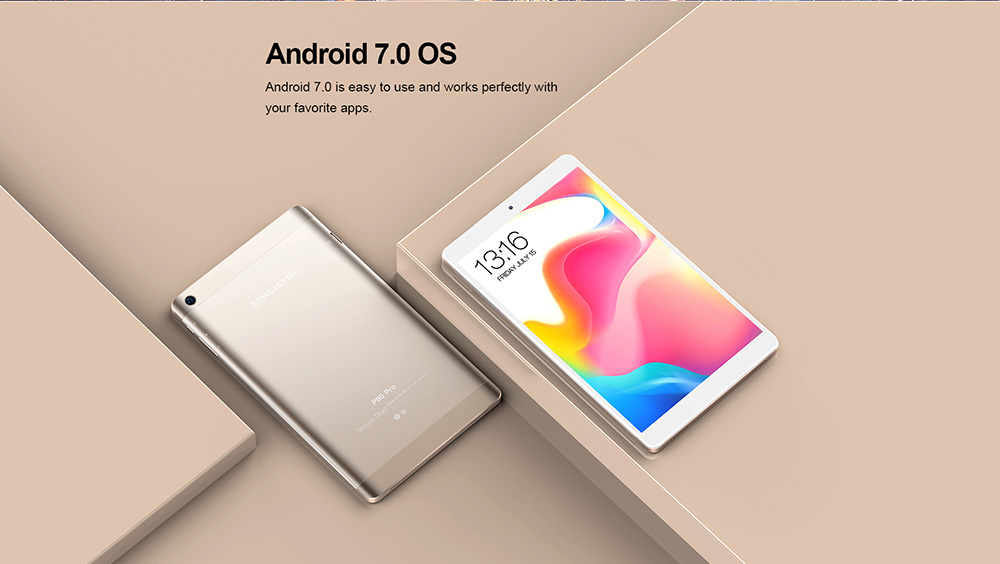 Teclast P80 Pro Tablet 8.0 inch Android 7.0 MTK8163 Quad Core 1.3GHz 3GB RAM 32GB eMMC ROM Dual Cameras Dual Band WiFi HDMI  - Champagne