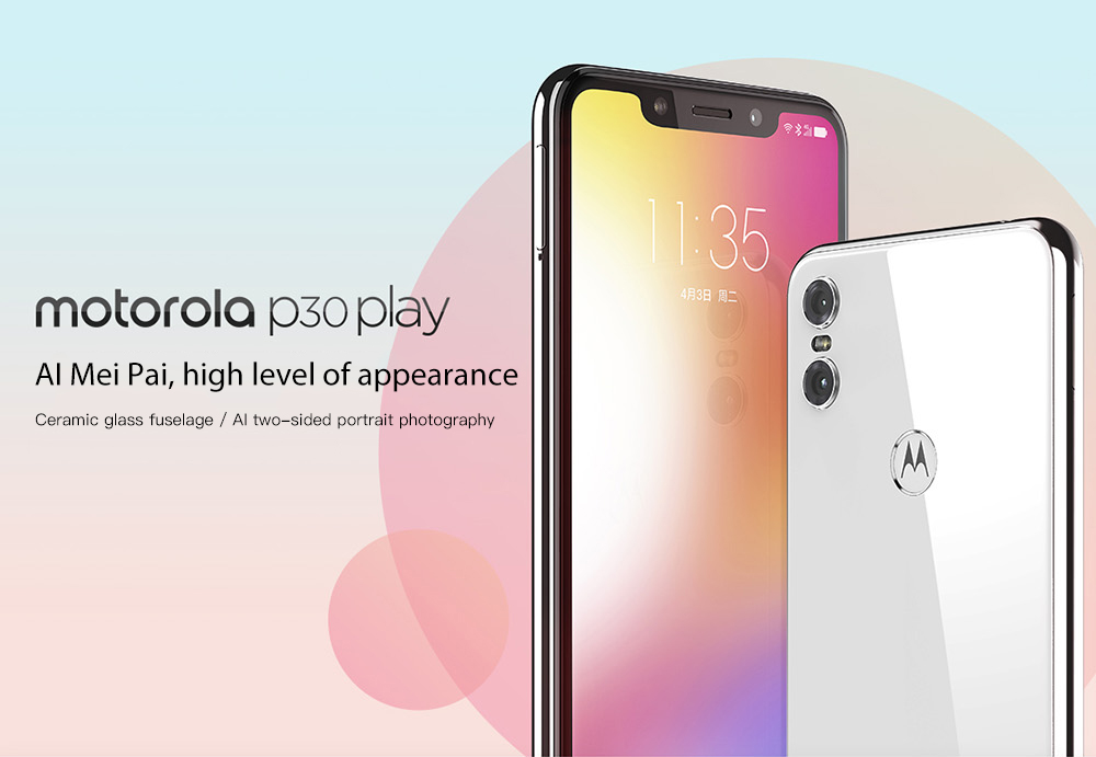Motorola P30 Play 4G Phablet 5.88 inch ZUI 4.0 ( Android 8.1 )  Snapdragon 625 Octa Core 2.0GHz 4GB RAM 64GB ROM 13.0MP + 2.0MP Rear Camera Fingerprint Sensor 3000mAh Built-in- Black