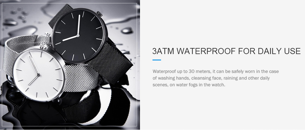 Xiaomi youpin TwentySeventeen Light and Fashionable Waterproof Luminous Quartz Watch- Silver