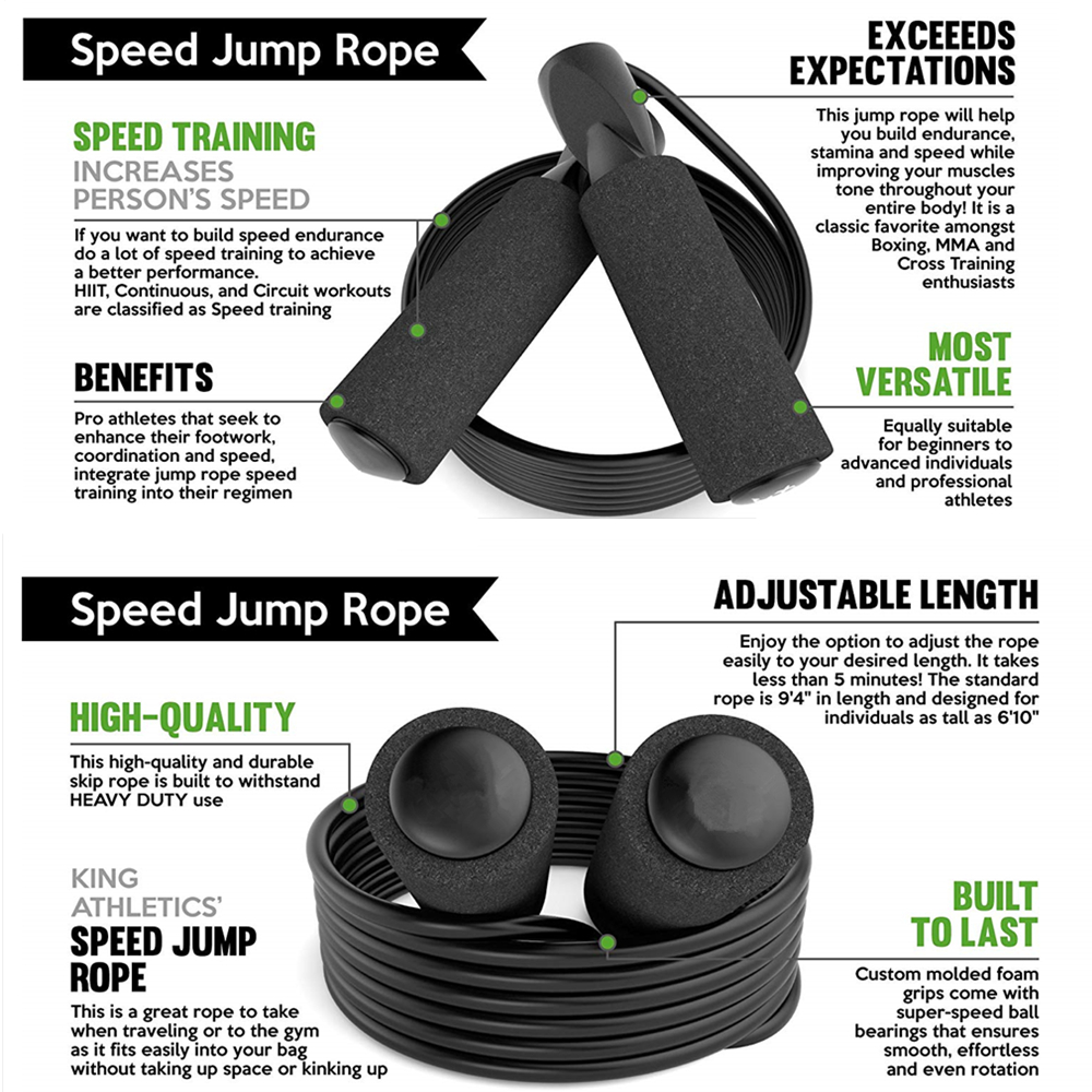 HANDISE New Skipping Rope for Workout and Speed Skip Training